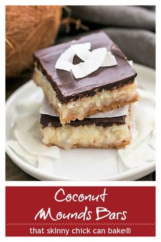 Coconut Mounds Bars - Fabulous coconut bars with a graham cracker crust and ganache topping #moundsbars #coconutbars #coconutlovers #chocolate #sweetenedcondensedmilk