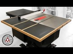 Out-feed Table for a SawStop Cabinet Saw | Plans - YouTube Table Saw Jigs, Router Table, Woodworking Shop, Woodworking Projects, Quick Grip Clamps, New Cabinet, Table Plans, Ping Pong Table, I Shop