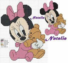Minnie Cross Stitch For Kids, Cross Stitch Baby, Cross Stitch Patterns, Minnie Baby, Mickey Y Minnie, Stitch Cartoon, Butterfly Cross Stitch, Pixel Art, Baby Art