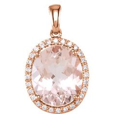 14K Rose 12x10mm Oval Morganite & 1/10 ct tw Diamond Pendant | Stuller.com