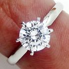 D/VVS1 Gold Giamond Engagement Ring 1.25 ct Round Cut 14K Solid White Gold Band