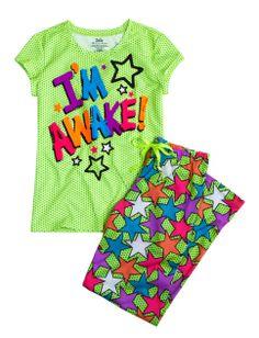Im Awake Front Back 2 Piece Pajama Set   Girls Sets Pajamas   Shop Justice