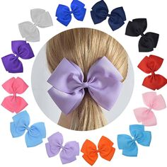 LCLHB Cute Extra Large Hair Bow Set With Ruffled Grosgrain Fabric For Women Baby Girls (Giftbox Pack Of 12) * This is an Amazon Affiliate link. Click on the image for additional details.