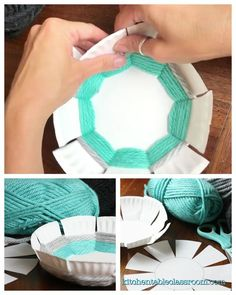 Woven Bowl- A DIY with Free Printable Template – The Kitchen Table Classroom Make a woven bowl with this free printable template that fits right onto a standard paper plate. Create this woven bowl using the free printable template, a paper plate, & yarn Jar Crafts, Kids Crafts, Diy And Crafts, Craft Projects, Arts And Crafts, Crafts With Wool, Cool Crafts For Kids, Teen Girl Crafts, Sharpie Projects