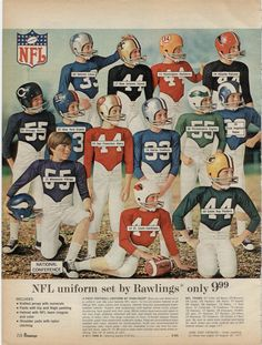 Early 70's boys' NFL Uniforms. 1970 JC Penney Christmas catalog