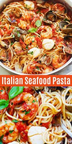 Italian Seafood Pasta Seafood Pasta Just Like How It S Done In Italy Loaded With Shrimp Scallops And Clams The Pasta Is Al Dente With Homemade Tomato Pasta Sauce It S So Easy And Delicious Rasamalaysia Com Pasta Italianfood Dinner Seafood Seafood Pasta Recipes, Shrimp Dishes, Fish Dishes, Italian Seafood Spaghetti Recipe, Pasta With Seafood, Chicken Recipes, Italian Dishes, Italian Recipes, Italian Cooking