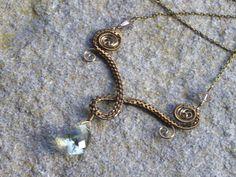 Bronze+swirl+necklace+with+Sage+Green+Quartz+and+by+sparklegem,+$50.00