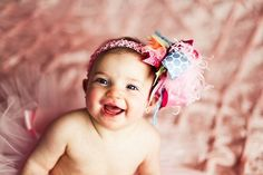 Rainbow Bright Over The Top Bow on by loveablebabyboutique, via Etsy.