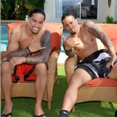 Twin brothers Jon Fatu (Jimmy Uso) and Joshua Fatu (Jey Uso)