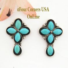 Four Corners USA Online - Turquoise Shadowbox Cross Post Pierced Earrings Native American Indian Jewelry, $64.00 (http://stores.fourcornersusaonline.com/turquoise-shadowbox-cross-post-pierced-earrings-native-american-indian-jewelry/)