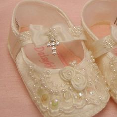 Baby shoes girls christening beaded with by TIGERLILYKITTEN