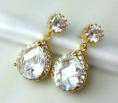 $45 Bridal Earrings Cubic Zirconia Teardrop Earrings Vintage Diamond Look Earrings Sterling Silver Gold Wedding Jewelry Bridesmaid Gift
