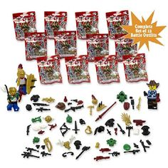 Mini Figure Outfits - Complete Set of 12 Brick Warrior Battle Gear (Series 2) - Compatible with Lego