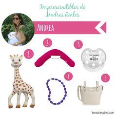 """Más mamás geniales siguen compartiendo con nosotras sus imprescindibles❤️ """"Hola, Soy Andrea! Social Media Manager de ocupación, blogger de @nenascoquetas, fanática del DIY y del washitape, y ahora mami primeriza full time ¿Cositas para los bebes? ¡MUCHÍSIMAS! ¿Imprescindibles? ¡Pocas! así que os dejo mi top5:  1. Jirafa Sophie 2. Cojin nido de @mimuselina  3. Chupetes de @Tutetecom  4. Collares de lactancia de Colormama beads  5. Bolso para el carrito @Pasitoapasitobarcelona"""