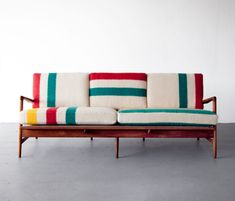 Some more quirkiness in the upholstery. beautiful simplicity Mid-century modern Teak frame sofa by Danish architect and furniture designer Ib Kofod-Larsen, with new cushions upholstered in deadstock Hudson Bay blankets. Home Furniture, Modern Furniture, Furniture Design, Chair Design, Plywood Furniture, Pallet Furniture, Antique Furniture, Furniture Ideas, Danish Furniture