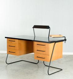 Jean Royère; Oak and Laminated Metal Desk, 1950