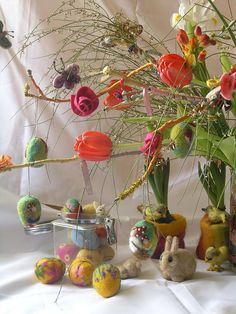 Spring Nature Table; since Eva is obsessed with the christmas tree...we might need a tree for every season.