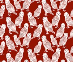 Halloween Owls - Brandywine by Andrea Lauren  fabric by andrea_lauren on Spoonflower - custom fabric