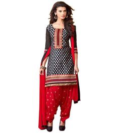 Iconic Black and Red Ethnic Patiyala Suit