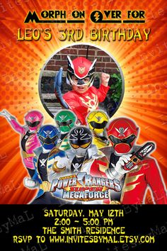 Power Ranger MegaForce Invitation Can be made for any of the different series of Power Rangers by InvitesByMaL