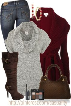 """Cowl Neck Jumper & Ruby"" by casuality on Polyvore"