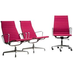 Eames Aluminium Group Chairs in Red