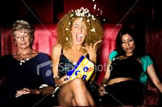Young Woman Throwing Popcorn In The Cinema Royalty Free Stock Photo