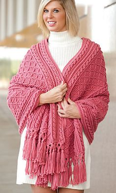 Crochet - A post-stitch diamond pattern and other dimensional stitches give luscious texture to this beautiful wrap. Includes written instructions only. This e-pattern was originally published in the December issue of Crochet World magazine. Crochet Prayer Shawls, Crochet Shawls And Wraps, Crochet Scarves, Crochet Clothes, Crochet Cable, Filet Crochet, Shawl Patterns, Crochet Patterns, Crochet Winter