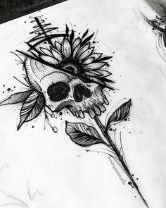 Dark Art Drawings, Tattoo Design Drawings, Art Drawings Sketches, Tattoo Sketches, Tattoo Designs, Tattoo Ideas, Skull Tattoo Design, Floral Skull Tattoos, Drawings On Hands