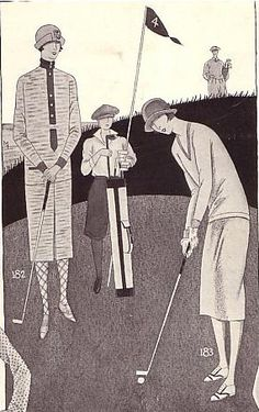 By 1920, the standard golf ensemble was a matching two-piece dress.  Golf dresses were rather plain, with a straight or a pleated skirt.  Women often wore patterned stockings, and golf shoes of the time usually had rubber soles.  Starting around 1921, women golfers were sometimes pictured in knickers, but that would not have be allowed at many country clubs.  Illustration from Bonwit Teller Sports catalogue, 1925