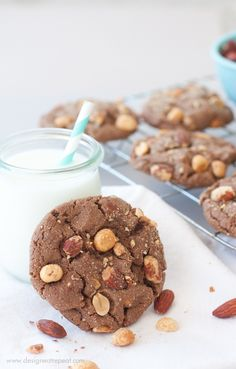 Milk Chocolate Peanut Butter and Almond Cookies   by Design Eat Repeat @Design Eat Repeat