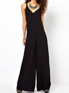 Cross Back Low Cut Long Pants Loose Women Sumemr Fashion Jumpsuits
