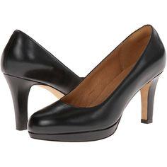 Clarks Delsie Bliss (Black Leather) Women's Shoes ($120) ❤ liked on Polyvore