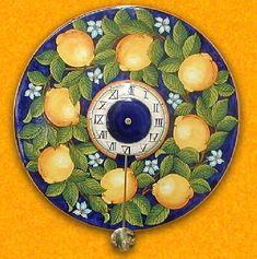 Ceramica Artistica Ideas, Wall Clock Design, Dinnerware, Lemon, Pottery, Colours, Ceramics, Tableware, Ceramic Tableware