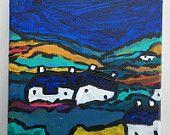 "Landscape Acrylic Painting, Original Acrylic Painting 8""x8"", Landscape Art Painting on Canvas, Colorist Colourist Painting by Simon Bramble"
