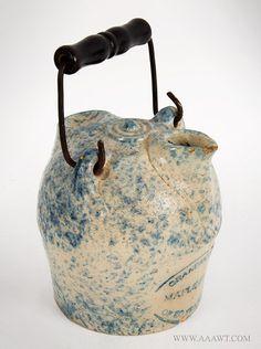 F.H. Weeks Akron, Ohio Spongeware Maple Syrup Jug Marked on Base, Late 19th Century