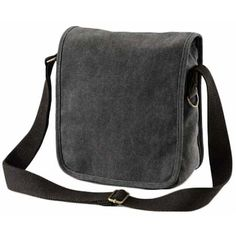 Black Canvas Mini Messenger Shoulder Man Bag Mens Mans Manbag Small Black Canvas, Antique Brass, Shopping Bag, Compact, Messenger Bag, Shoulder Strap, Satchel, Mini, Bags