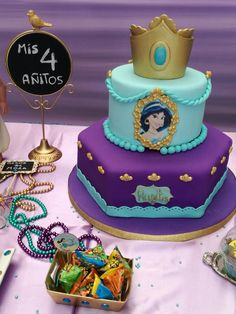 Jasmine Birthday Cake, Aladdin Birthday Party, Aladdin Party, Princess Birthday, Princess Party, Birthday Party Themes, 5th Birthday, Princess Jasmine Cake, Jasmine Disney