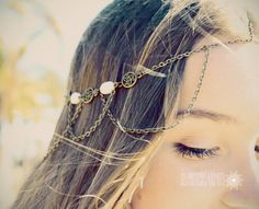 Hair Chain Hair Jewelry Front Chain Bronze by SlaveBraceletAndMore hair chain, chain bronz