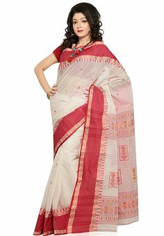 Red Colored Tangail Cotton Saree