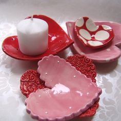 5 ceramic Heart dishes SET red pink & white polka dots for candles, soap, jewelry, candy dish, home decor . . . with LOVE by maryjudy
