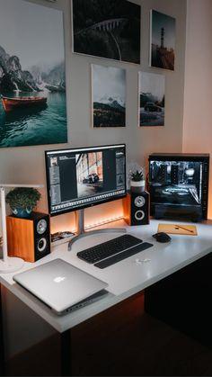 Home Studio Setup, Home Office Setup, Home Office Design, House Design, Computer Desk Setup, Gaming Room Setup, Pc Setup, Bedroom Setup, Room Design Bedroom