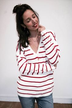 Pull COSY marinière rouge et blanche