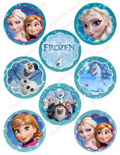 TWO Sheets of Digital Frozen Printable Birthday Party Cupcake Toppers