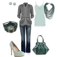 Gray w/ Shades of Teal, created by amyjoyful1 on Polyvore. Love teal! by txell