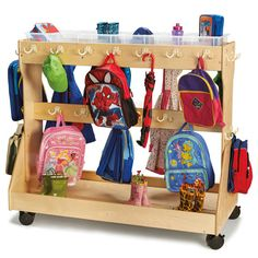Mobile Backpack Cart With Cubbie Trays with a total of 68 hooks. The ultimate classroom storage system!