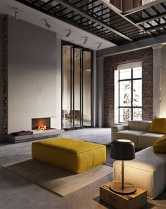 Ideas apartment living room modern industrial loft for 2019 Loft Interior, Interior Architecture, Luxury Interior, Yellow Interior, Living Room Modern, Living Room Decor, Bedroom Decor, Wall Decor, Dining Room