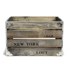 Caisse en bois L35cm Bois Vieilli - Loft rangement - Les boites - Les accessoires et la papeterie - Bureau - Décoration d'intérieur - Alinéa