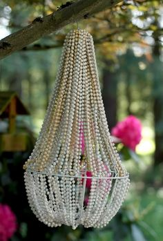 DIY Patio Chandelier now i knnow what to do with the bag of mardi gras beads