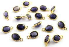 Natural Iolite Bezel Gemstone Component Tiny by Beadspoint on Etsy, $3.99